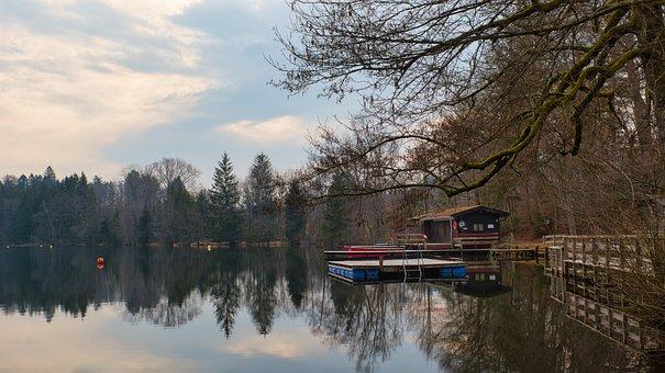 Lake, Waters, Nature, Bathing Place, Hut