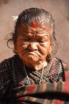 Newari, Nepali, Women, Old, Face