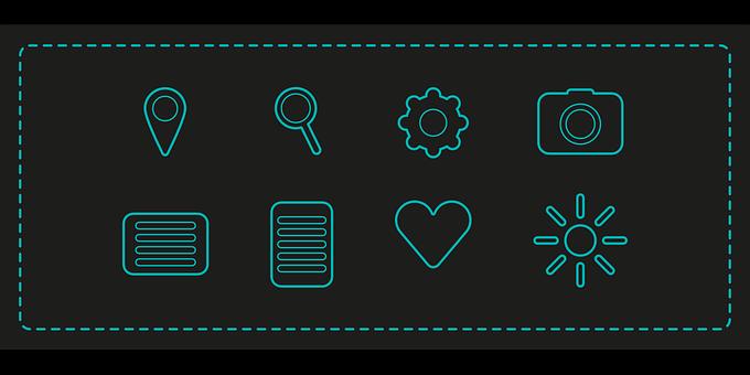Icons, Vector, Icon, Lens, Heart, Illustration, Dish