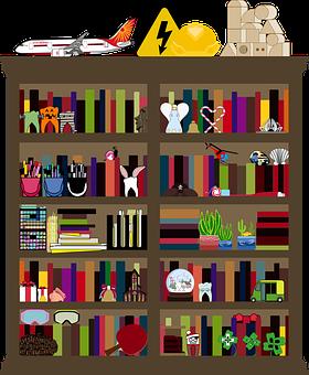 Graphic, Clutter, Cluttered, Bookshelf