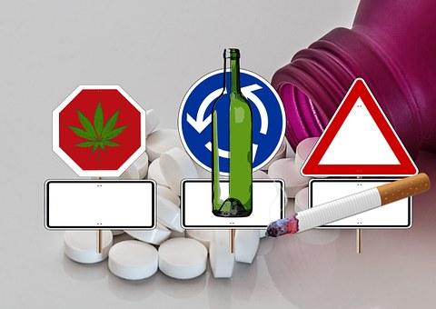 Road Sign, Drugs, Hashish, Alcohol, Tablets, Addiction