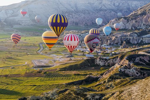 Hot Air Balloons, Balloons, Valley, Landscape
