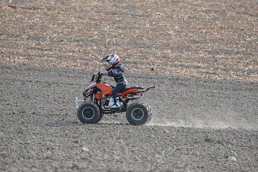 Quad, Field, Motorcycle, Motorcyclist, Motocross