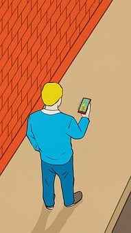 Painting, Pedestrian, Mobile Phone, Information