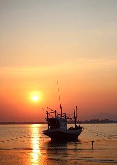 Sunset, Sea, Ship, Sky, Water, Nature