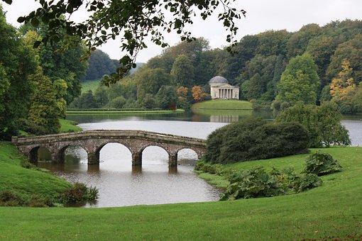 Stourhead, Bridge, Lake, Water, Trees, Landscape