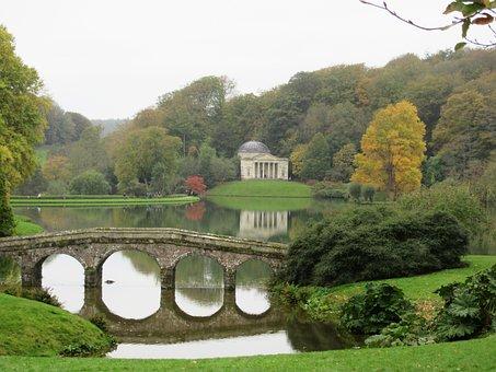 Landscape, Garden, Lake, Trees, Reflection, Calm, Water