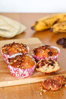 Muffins, Banane Chocolate, Walnuts, Tasty, Food