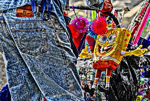 Vendor, Sponge Bob, Toys, Jeans, Man, Childhood, Cart