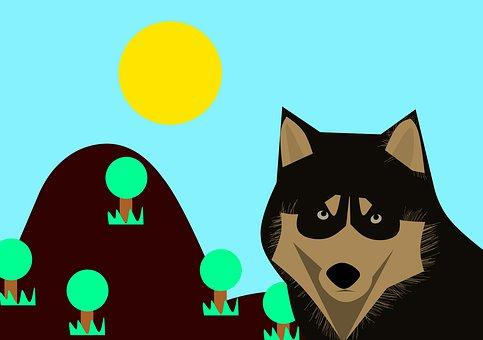 Wolf, Cartoon, Dog, Wildlife, Forest, Dark, Sun