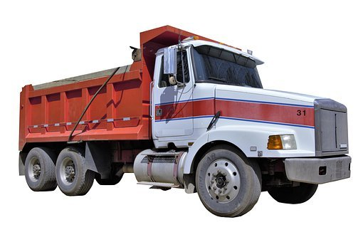 Transparency, Cutout, Truck, Dump Truck, Red, White