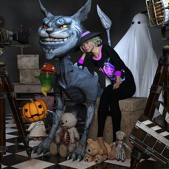 Halloween, Cheshire Cat, Ghost, Pumpkin, Teddy