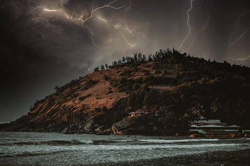 Thunder, Storm, Island, Lightning, Thunderstorm, Rain