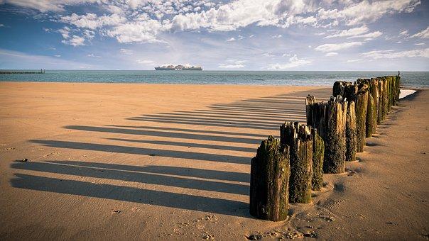 Breskens, Beach, Sand, Ship, Sea, Coast, North Sea