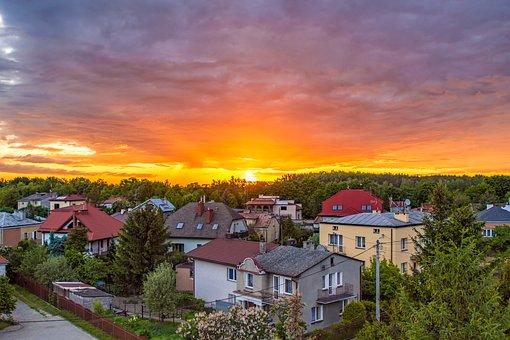 Sunset, The Sun, Sky, Buildings, Clouds