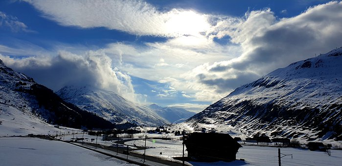 Mountains, Andermatt, Wintry, Wolkenspiel, Snow