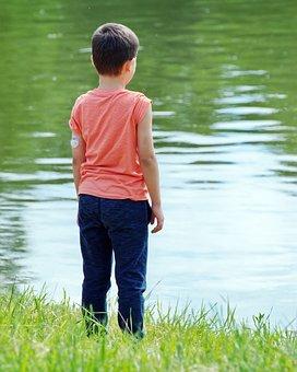 Boy, Child, T-shirt, On, Sitting, Single