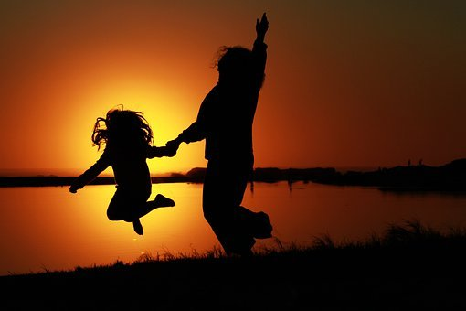 Sunset, Dancing, Jumping, Mother, Daughter, Silhouette