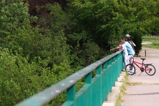 People, Family, Child, Bike, Sitting, Bridge