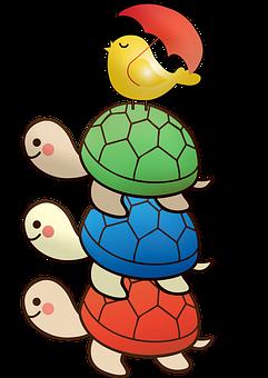Stacked Turtles, Bird, Turtles, Nursery, Whimsical