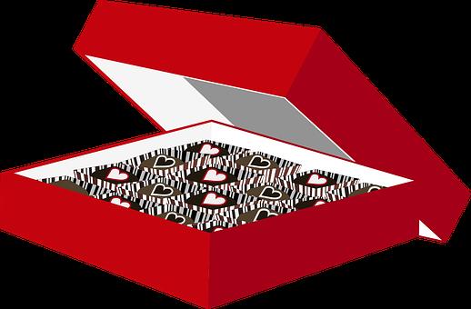Graphic, Box Of Chocolates, Valentine, Chocolate, Candy