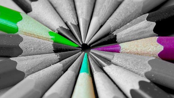 Pencils, Color, Green, Violet, Black, Grey, Tips, Wood