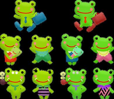 Kawaii Frog, Man Frog, Woman Frog, Business Frog, Woman