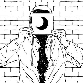 Cartoon, Painting, Universe, Starry Sky