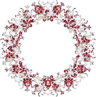 Red White, Red Border, White Frame, Ornament