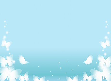 Blue Butterfly Background, White Butterflies