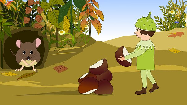 Autumn, Chestnuts, Chestnut, Mouse