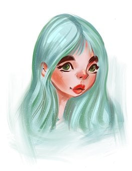 Portrait, Sketch, Girl, Blue, Woman, Female, Drawing