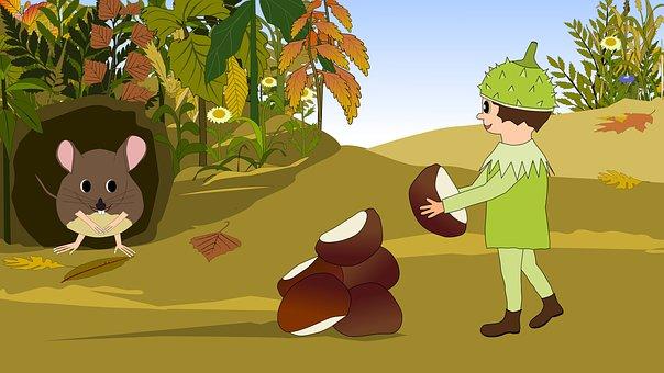 Autumn, Chestnuts, Chestnut, Mouse, Pixie, Children's