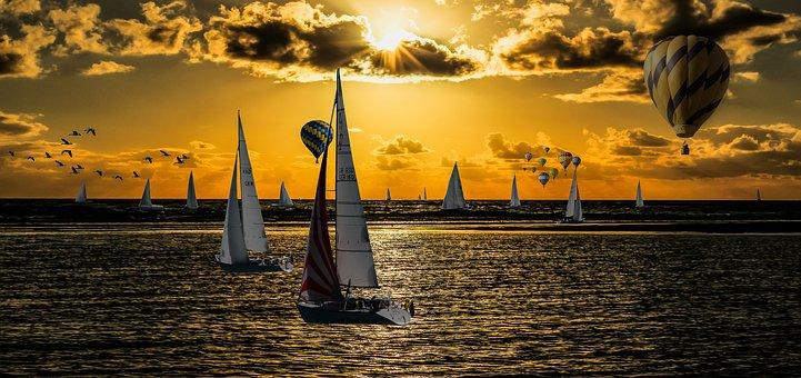 Vacations, Holidays, Sea, Lake, Sailing Boat, Sail