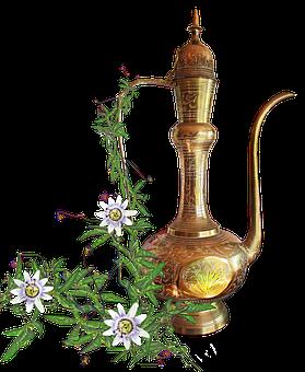 Brass Kettle, Leaves, Passionfruit Flowers, Still Life