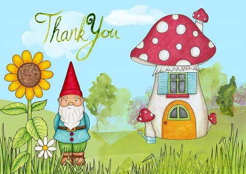 Thank, You, Card, Gnome, House, Kids, Sunflower