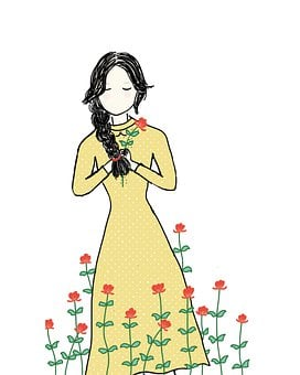 Girl, Yellow Dress, Spring, Red Flowers, Dreaming