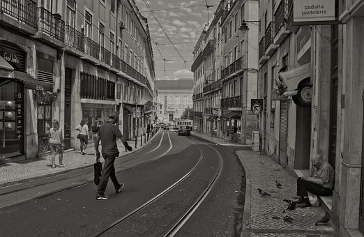 Lisbon, Street, Old, Elderly, Sadness