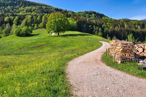 Away, Lane, Landscape, Chiemgau, Upper Bavaria, Spring