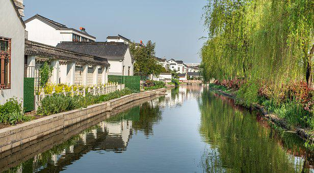 Jiangsu, Water, Willow, China, Travel, Canal