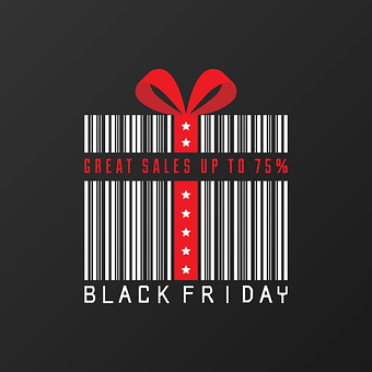 Black Friday, Black, Friday, Sale, Giftbox, Barcode
