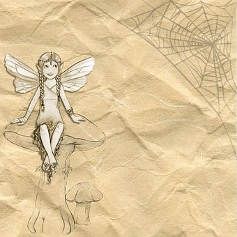 Girl, Fairy, Web, Smiling, Butterfly, Vintage