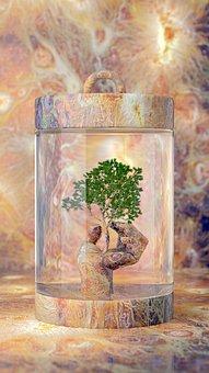 Painting, Imagination, Fantasy, Hand, Glass Bottle