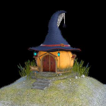 Witch House, Halloween, Hat, Cobweb