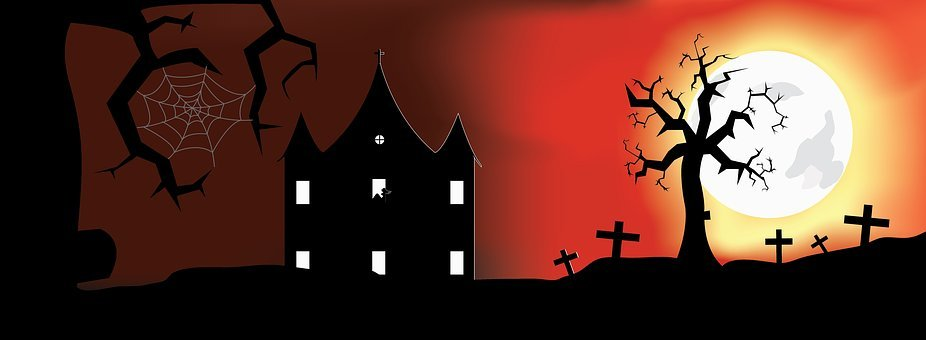 Halloween, Haunted House, Moon, Red, Background