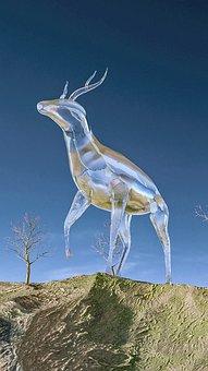 Painting, Imagination, Fantasy, Deer, Glass Bottle