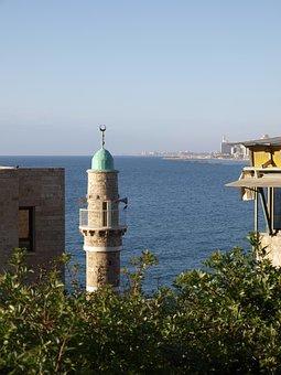 Seaside, Minaret, Mosque, Ocean, Summer, Sky