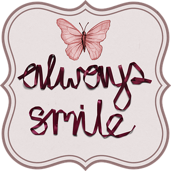 Butterfly, Tag, Smile, Positive, Ribbon, Label, Drawing