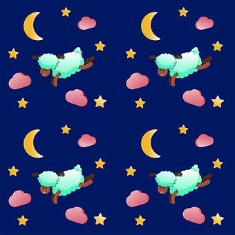 Sleepy Sheep, Stars And Moon, Turquoise Wool, Design