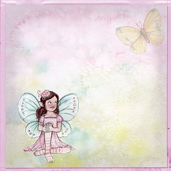 Girl, Fairy, Smiling, Butterfly, Vintage, Background